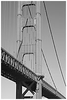 Golden Gate Bridge pillar. San Francisco, California, USA ( black and white)