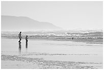 Man and child on wet beach, afternoon. San Francisco, California, USA (black and white)