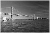 Pier, Oakland Bay Bridge, and Yerba Buena Island, early morning. San Francisco, California, USA (black and white)