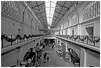 Central nave  of the renovated Ferry building. San Francisco, California, USA (black and white)