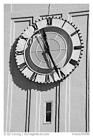 Big clock on the Ferry building. San Francisco, California, USA (black and white)