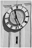 Big clock on the Ferry building. San Francisco, California, USA ( black and white)
