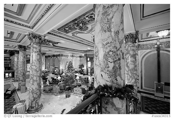 Lobby of the Fairmont Hotel. San Francisco, California, USA (black and white)