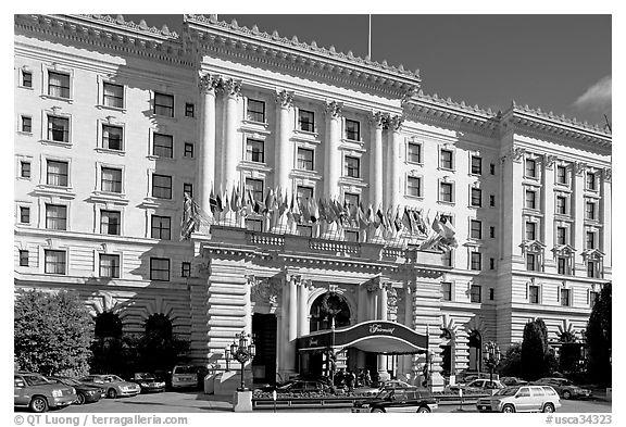 Facade of the Fairmont Hotel, early afternoon. San Francisco, California, USA