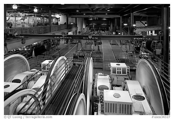 Sheave room viewing area in the cable car barn. San Francisco, California, USA (black and white)
