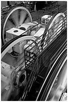 Cable winding machine in the cable-car barn. San Francisco, California, USA (black and white)