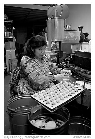 Woman folding fortune cookies, Chinatown. San Francisco, California, USA (black and white)