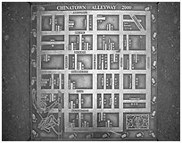 Alleyway map of Chinatown. San Francisco, California, USA ( black and white)