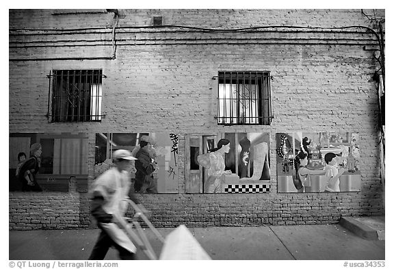 Man pushing a cart in front of mural paintings, Ross Alley, Chinatown. San Francisco, California, USA (black and white)