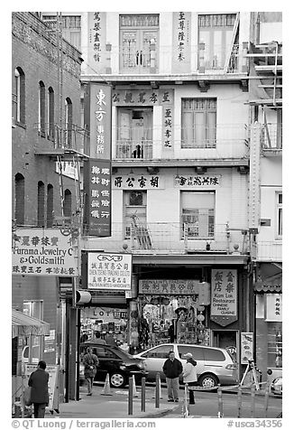 Waverley Alley and street in Chinatown. San Francisco, California, USA (black and white)
