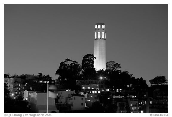Black and White San Francisco Photography Coit Tower Telegraph Hill Art Print Northern California Bay Area Urban City Architecture Wall Art