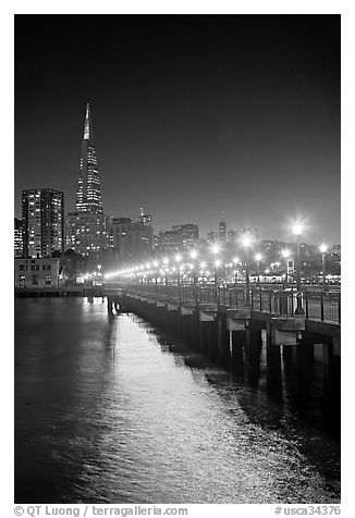 Lights and reflection, Pier seven, and Transamerica Pyramid. San Francisco, California, USA (black and white)