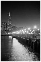Lights and reflection, Pier seven, and Transamerica Pyramid. San Francisco, California, USA ( black and white)