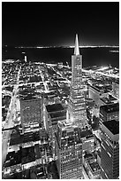 Transamerica Pyramid and Coit Tower, aerial view at night. San Francisco, California, USA (black and white)