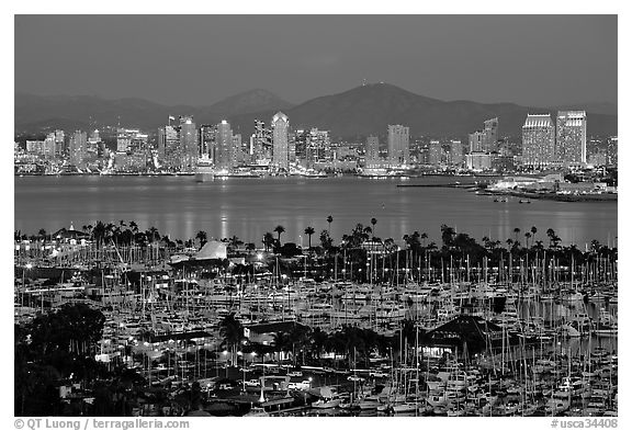 Marina and skyline at night. San Diego, California, USA (black and white)