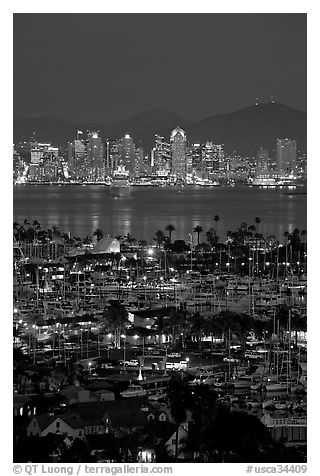 San Diego Yacht Club and skyline at night. San Diego, California, USA (black and white)