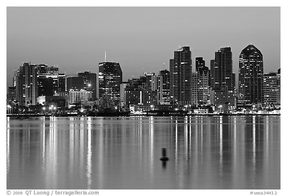 Skyline and buoy, dawn. San Diego, California, USA (black and white)