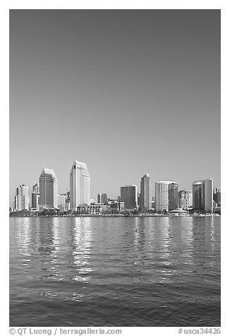 Skyline from across the harbor,  Coronado. San Diego, California, USA (black and white)