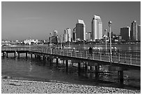 Beach, pier, and skyline, Coronado. San Diego, California, USA (black and white)