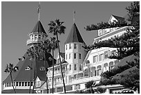 Turrets and towers of Hotel Del Coronado. San Diego, California, USA (black and white)
