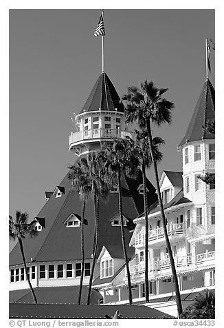 Towers and red roof of Hotel Del Coronado. San Diego, California, USA (black and white)