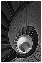 Spiral staircase inside Point Loma Lighthous. San Diego, California, USA ( black and white)