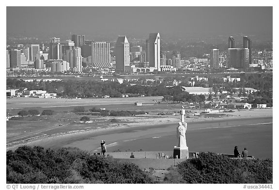 Cabrillo monument, navy base, and skyline. San Diego, California, USA (black and white)