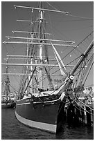Star of India square-rigged ship, Maritime Museum. San Diego, California, USA ( black and white)