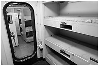 Berthing spaces, USS Midway. San Diego, California, USA (black and white)
