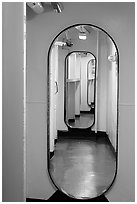 Corridor, USS Midway. San Diego, California, USA ( black and white)
