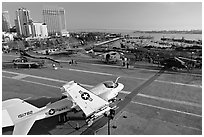 Flight deck and navy aircraft, USS Midway aircraft carrier. San Diego, California, USA (black and white)
