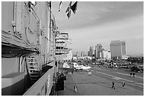 Flight deck and San Diego skyline seen from the USS Midway. San Diego, California, USA ( black and white)