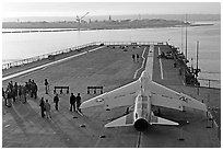 Plane in position at catapult, USS Midway aircraft carrier. San Diego, California, USA ( black and white)