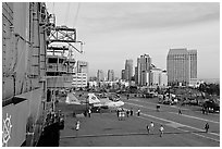 Flight control tower, flight deck, skyline, San Diego Aircraft  carrier museum. San Diego, California, USA ( black and white)