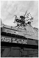 Island and flags,  USS Midway aircraft carrier. San Diego, California, USA ( black and white)