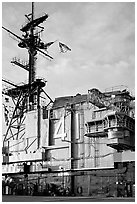 Island superstructure, USS Midway aircraft carrier. San Diego, California, USA ( black and white)
