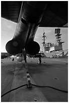 Aircraft with landing hook deployed, San Diego Aircraft  carrier museum. San Diego, California, USA ( black and white)