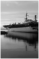 USS Midway, the longest serving aircraft carrier. San Diego, California, USA (black and white)