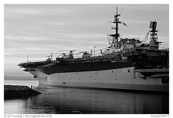 USS Midway at sunset. San Diego, California, USA (black and white)