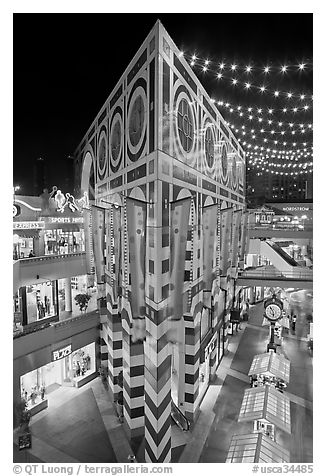 Palazzo in Horton Plaza at night. San Diego, California, USA (black and white)