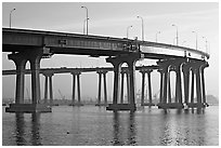 San Diego-Coronado Bay Bridge, early morning. San Diego, California, USA (black and white)