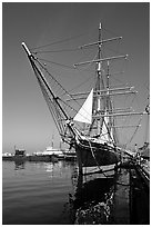 Star of India, the world's oldest active ship, Maritime Museum. San Diego, California, USA (black and white)