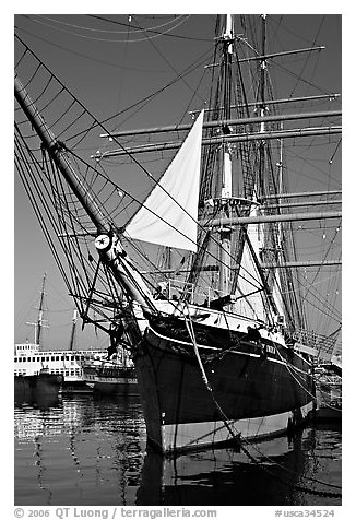 Iron-hulled 1863 ship Star of India, Maritime Museum. San Diego, California, USA (black and white)
