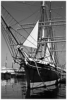 Iron-hulled 1863 ship Star of India, Maritime Museum. San Diego, California, USA ( black and white)