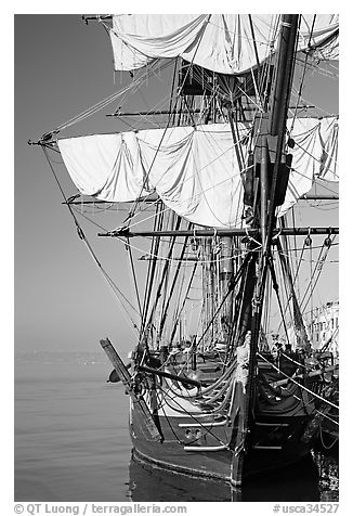 HMS Surprise, used in the movie Master and Commander, Maritime Museum. San Diego, California, USA (black and white)