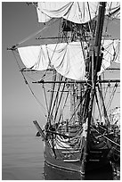 HMS Surprise, used in the movie Master and Commander, Maritime Museum. San Diego, California, USA ( black and white)