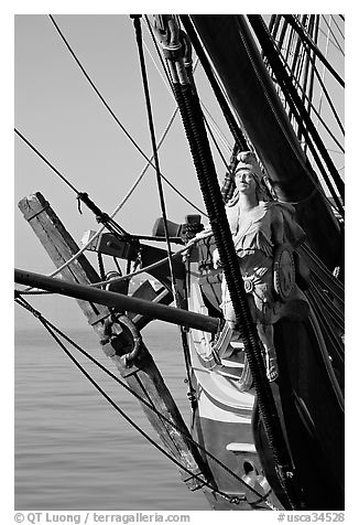 Prow of the HMS Surprise, Maritime Museum. San Diego, California, USA (black and white)