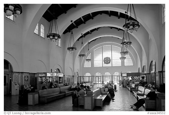 Vaulted ceiling,  waiting room of Santa Fe Depot. San Diego, California, USA