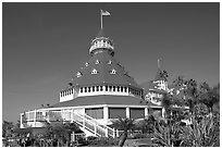 Main tower of hotel Del Coronado. San Diego, California, USA (black and white)