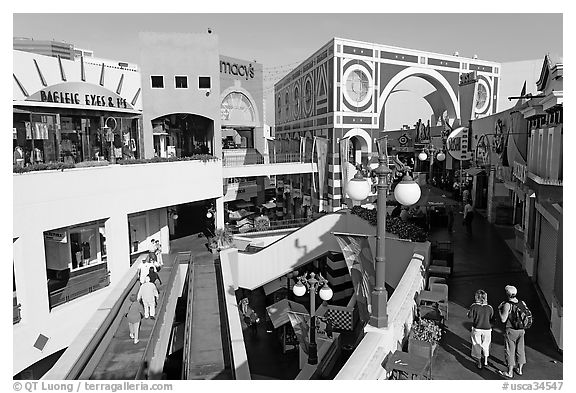Horton Plaza shopping center by daylight. San Diego, California, USA (black and white)
